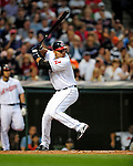4 September 2009: Cleveland Indians' third baseman Jhonny Peralta in action against the Minnesota Twins at Progressive Field in Cleveland, Ohio. The Indians defeated the Twins 5-2 to take the first game of their three-game weekend series. Mandatory Credit: Ed Wolfstein Photo