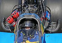 Feb. 24, 2013; Chandler, AZ, USA; NHRA top fuel dragster driver Sidnei Frigo during the Arizona Nationals at Firebird International Raceway. Mandatory Credit: Mark J. Rebilas-