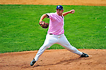 "18 July 2010: Vermont Lake Monsters pitcher Ryan Demmin on the mound against the Staten Island Yankees at Centennial Field in Burlington, Vermont. The Lake Monsters, dressed in their Breast Cancer Awareness ""Pinks"", fell to the Yankees 9-5 in NY Penn League action. Mandatory Credit: Ed Wolfstein Photo"