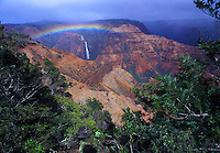 Waipoo Falls, Waimea Canyon with rainbow and greenery