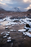 Clearning winter storm over Marsco and Red Cuillins, Isle of Skye, Scotland