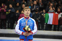 SHORT TRACK: TORINO: 15-01-2017, Palavela, ISU European Short Track Speed Skating Championships, Podium 1000m Men, Semen Elistratov (RUS), ©photo Martin de Jong