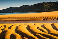 Saturated orage colours and patterns of stunning Totaranui beach on Abel Tasman Coast Track enhanced by setting sun, Abel Tasman National Park, Nelson Region, South Island, New Zealand