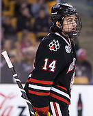 Braden Pimm (NU - 14) - The Northeastern University Huskies defeated the Boston University Terriers 3-2 in the opening round of the 2013 Beanpot tournament on Monday, February 4, 2013, at TD Garden in Boston, Massachusetts.