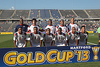 In CONCACAF Gold Cup Group Stage, the national team of Cuba (white) defeated national team of Belize (red), 4-0, at Rentschler Field, East Hartford, CT on July 16, 2013.