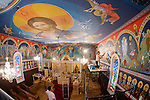 St. Sava frescos by Miloje Milinkovic..Pantocrator Jesus Christ is the centerpiece of the creation and is painted at the center of the ceiling in the historic church