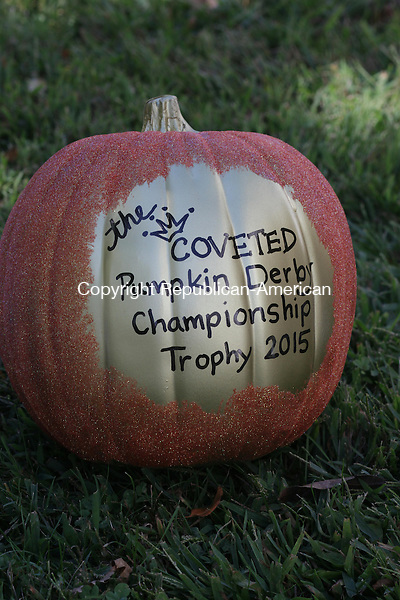 "WOODBURY, CT: 21 Sept. 2015: 09212015CB01: WOODBURY --- The winner of the Pumpkin Derby, to be held at Sunday's Fall Festival in Woodbury, will recieve the ""coveted"" championship trophy. Prizes will also be awarded for best decoration and best design. Caleb Bedillion Republican-American"