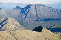 Clouds covering summit of Bla Bheinn (Blaven), Black Cuillin mountains, Isle of Skye, Scotland