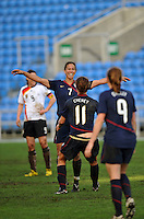 USA's Lauren Cheney celebrates her goal with Shannon Boxx who provided the assist.  The USA captured the 2010 Algarve Cup title by defeating Germany 3-2, at Estadio Algarve on March 3, 2010.