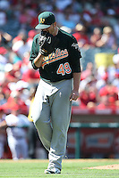 09/13/12 Anaheim, CA: Oakland Athletics starting pitcher Brett Anderson #49 during an MLB game played between the oakland Athletics and Los Angeles Angels at Angel Stadium. The Angels defeated the A's 6-0.