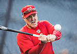 13 October 2016: Washington Nationals Hitting Coach Rick Schu taps out infield grounders during pre-game practice prior to Game 5 of the NLDS against the Los Angeles Dodgers at Nationals Park in Washington, DC. The Dodgers edged out the Nationals 4-3, to take Game 5 of the Series, 3 games to 2, and move on to the National League Championship Series against the Chicago Cubs. Mandatory Credit: Ed Wolfstein Photo *** RAW (NEF) Image File Available ***