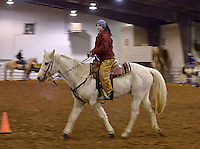 NWA Democrat-Gazette/BEN GOFF -- 02/01/15 Cassie Barnes of Siloam Springs takes part in a drill during practice with the Rodeo of the Ozarks Rounders in Isuba Valley Horse Park near Siloam Springs on Sunday, Feb. 1, 2015.