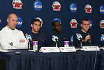 10 December 2009: From left: head coach George Gelnovatch, Neil Barlow, Tony Tchani, and Will Bates. The University of Virginia Cavaliers held a press conference at WakeMed Soccer Stadium in Cary, North Carolina on the day before playing Wake Forest in an NCAA Division I Men's College Cup semifinal game.