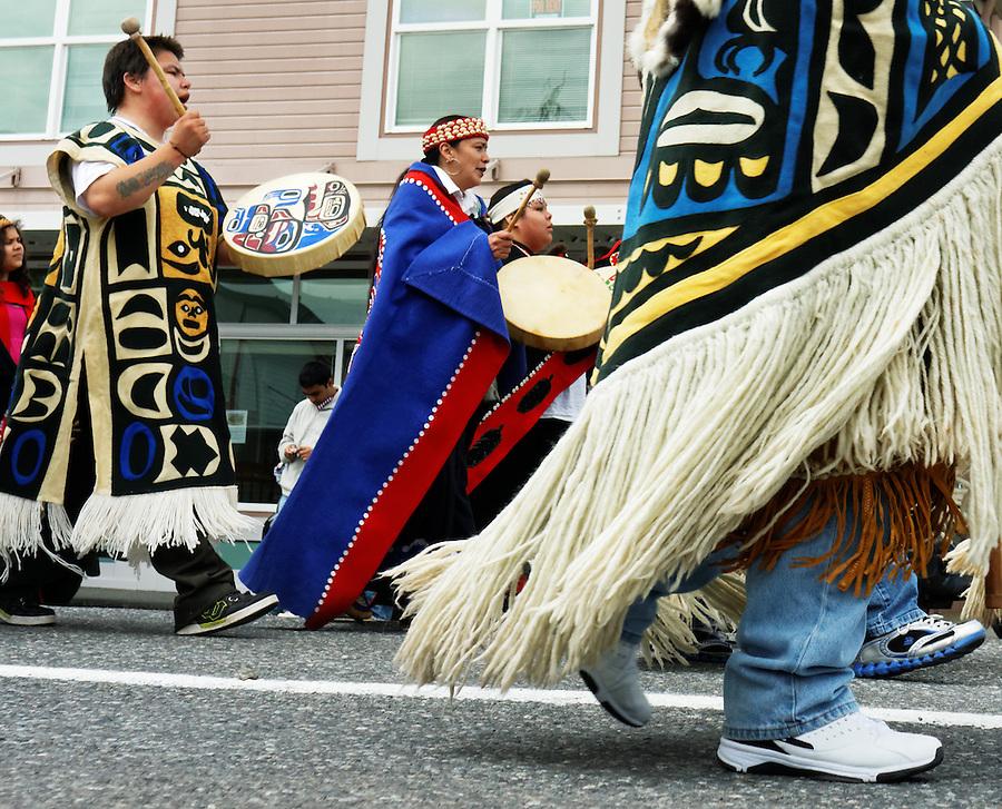 Native American Indians performing in Forth of July parade, Ketchikan, Alaska, USA