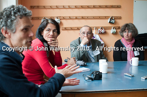 "Group of Hungarians visiting Summerhill School, Suffolk, England October 2010.  l to r: Peter Foti, Csilla Mihalisc, Tamas Vekerdy and Maria Honty.  They came to see and learn, in the hope that liberal education can have a comeback in Hungary.  Maria Honty is a psychologist.  Peter Foti is a writer on education.  Tamas Vekerdy, a psychologist, writes books about children, leader of the Department dealing with alternative education, main revitaliser of the Waldorf Movement in Hungary after 1989 and wrote the preface to the Hungarian edition of A.S.Neill's book in 2004.  Csilla Mihalisc is a journalist from ""Nok Lapja"", the biggest women's weekly magazine in Hungary. The school was founded by A.S.Neill in 1921 and is run on democratic lines with each person, adult or child, having an equal say.  You don't have to go to lessons if you don't want to but could play all day.  It gets above average GCSE exam results."