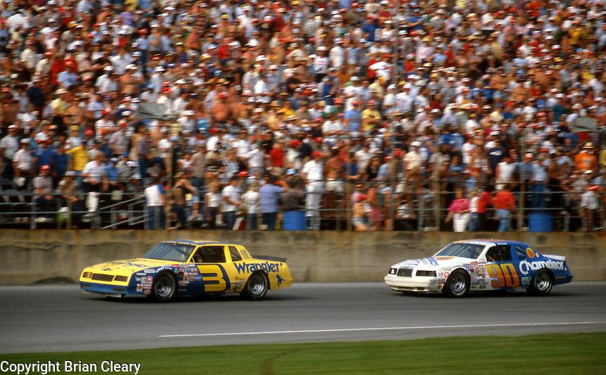 Dale Earnhardt 3 Dick Brooks 90 action Daytona 500 at Daytona International Speedway in Daytona Beach, FL on February  1984. (Photo by Brian Cleary/www.bcpix.com)