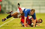 Rangers v Energie Cottbus 18.1.2003, Dubai al sahbab stadium: Robert Malcolm fouled by Kobylanski