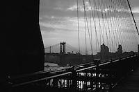 View from Brooklyn Bridge of East River and Manhattan Bridge