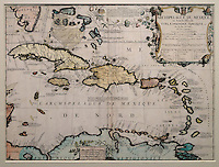 Map of the Mexican Archipelago,  with Cuba, Santo Domingo and Jamaica, by P Coronelli and Tilemon 1688, in the Chatillon Collection, in the Musee d'Aquitaine, Cours Pasteur, Bordeaux, Aquitaine, France. Picture by Manuel Cohen
