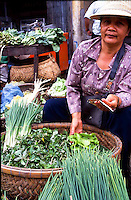 Large open air market in the capital of Laos. Pentax Spotmatic film camera. 2004