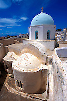 Blue domed byzantine church of Megalohori, Santorini, Greece