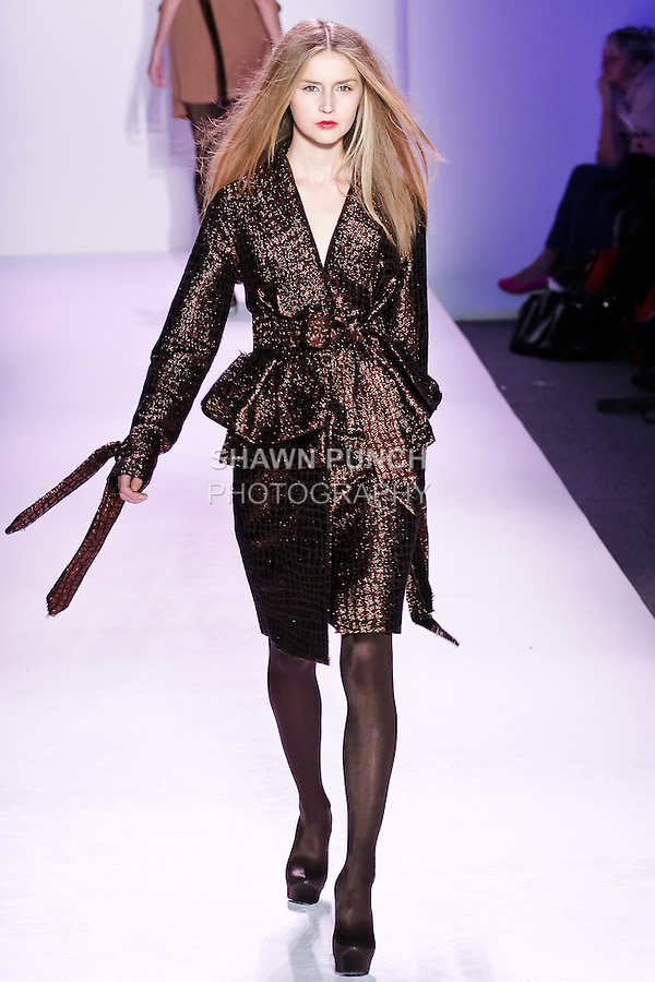 Svieta Nemkova walks the runway in an outfit by Thuy Diep, for her Thuy Fall Winter 2010 collection fashion show, during Mercedes-Benz Fashion Week Fall 2010.