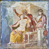 Satyr caressing Hermaphrodite, a Roman erotic fresco painting from Pompeii, 50-79 AD , from the tablium of the Casa di Epidio Sabino, inv no 27875 ,Secret Museum or Secret Cabinet, Naples National Archaeological Museum