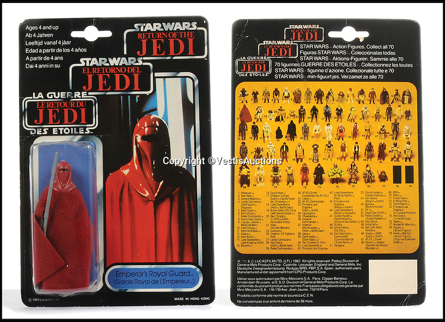 BNPS.co.uk (01202 558833)<br /> Pic: Vectis/BNPS<br /> <br /> Palitoy Star Wars Return Of The Jedi Tri-Logo Emperor's Royal sold for &pound;360.<br /> <br /> A tiny plastic rocket from a Star Wars action figure has sold for almost &pound;2,000 as part of a huge &pound;160,000 sale of rare toys relating to the film franchise.<br /> <br /> The red missile measures just 28mm long and was attached to the back of a prototype figure of bounty hunter Boba Fett.<br /> <br /> A complete prototype Boba Fett can sell for &pound;13,000 but thanks to a letter of authentication and grading by the Action Figure Authority (AFA), the small rocket made &pound;1,920 by itself at auction.<br /> <br /> It was one of almost 700 Star Wars lots that sold for &pound;160,000, with many toys that originally sold for &pound;1.50 achieving four-figure sums.<br /> <br /> With the release of Star Wars:The Force Awakens imminent, interest in memorabilia from the franchise has never been higher.