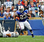 21 September 2008: Buffalo Bills' running back Marshawn Lynch in action against the Oakland Raiders at Ralph Wilson Stadium in Orchard Park, NY. The Bills defeated the Raiders 24-23 to mark their first 3-0 start of the season since 1992...Mandatory Photo Credit: Ed Wolfstein Photo