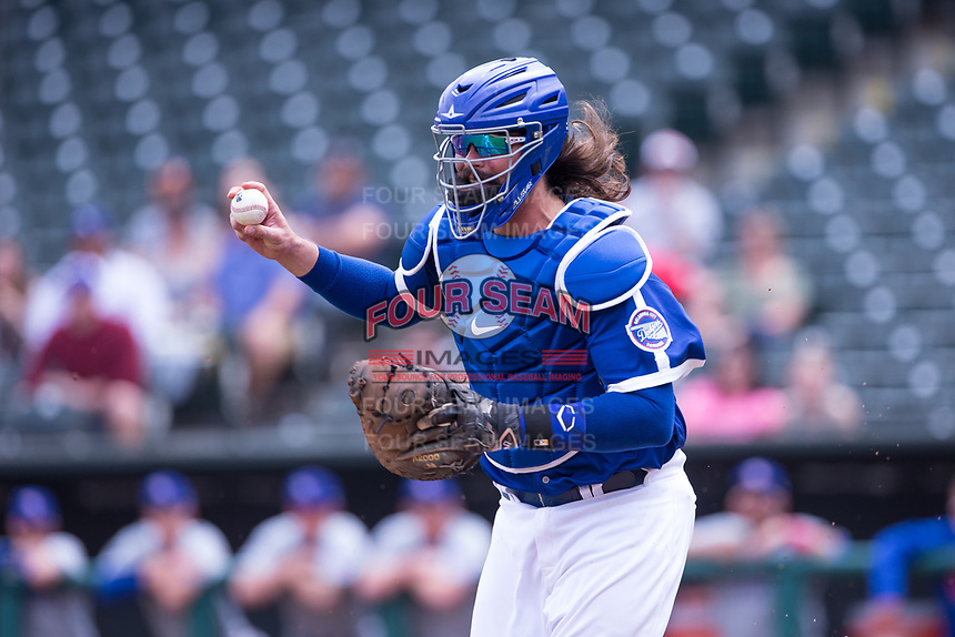 Jack Murphy (50) of the Oklahoma City Dodgers looks to throw to third base in a game against the Iowa Cubs at Chickasaw Bricktown Ballpark on April 9, 2016 in Oklahoma City, Oklahoma.  Oklahoma City defeated Iowa 12-1 (William Purnell/Four Seam Images)