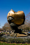 New York City, New York: Sculpture The Sphere by Fritz Koenig, saved from Ground Zero and relocated to Battery Park, symbol of world peace, public grieving site for 9-11 attack.  .Photo #: ny229-14614  .Photo copyright Lee Foster, www.fostertravel.com, lee@fostertravel.com, 510-549-2202.