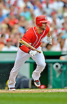2 September 2012: Washington Nationals' second baseman Danny Espinosa singles against the St. Louis Cardinals at Nationals Park in Washington, DC. The Nationals edged out the visiting Cardinals 4-3, capping their 4-game series with three wins. Mandatory Credit: Ed Wolfstein Photo