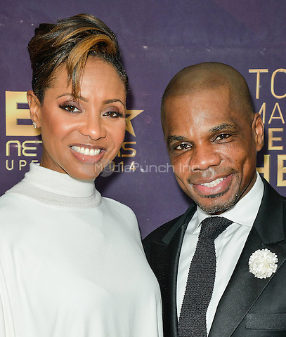 NEW YORK- APRIL 23: Kirk Franklin, MC Lyte attends the 2014 BET Networks Upfront at the London Hotel on April 23, 2014 in New York City. Credit: PGLT/MediaPunch