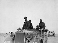 General Rommel bei der 15.  Panzer-Division zwischen Tobruk und Sidi Omar.  General Rommel with the 15th Panzer Division between Tobruk and Sidi Omar.  Libya, Janurary or November 24, 1941.  Sdf. Zwilling. (Foreign Records Seized)<br /> Exact Date Shot Unknown<br /> NARA FILE #:  242-EAPC-6-M713a<br /> WAR &amp; CONFLICT BOOK #:  1016