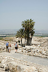 Israel, Jezreel Valley, tourists at Tel Megiddo National park. Megiddo is a tel (hill) made of 26 layers of the ruins of ancient cities in a strategic location at the head of a pass through the Carmel Ridge, which overlooks the Valley of Jezreel from the west.