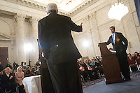 Slug: NYU/Kerry Gingrich Debate.Date: 04-10-2007.Photographer: Mark Finkenstaedt .Location:Russell Senate Office Building Washington, DC .Caption: New York University. John Brademas Center for the Study of Congress. Debate with Senator John Kerry and Former Speaker of the House Newt Gingrich on Global Climate Change and the Environment...© 2007 Mark Finkenstaedt. All Rights Reserved. For the editorial use only.  No advertising or marketing without model releases or permission of the photographer. For the sole use of NYU and the John Brademas Center for the Study of Congress. No sales Loans or Trades.