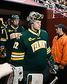 Ben Albertson (UVM - 18), Billy Faust (UVM - 32) - The Boston College Eagles defeated the University of Vermont Catamounts 4-1 on Friday, February 1, 2013, at Kelley Rink in Conte Forum in Chestnut Hill, Massachusetts.