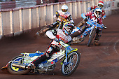Heat 6: Jason Doyle (yellow), Kauko Nieminen (blue), Peter Kildemand (white) and Davey Watt (red) - Lakeside Hammers vs Swindon Robins at the Arena Essex Raceway, Pufleet - 18/06/12 - MANDATORY CREDIT: Rob Newell/TGSPHOTO - Self billing applies where appropriate - 0845 094 6026 - contact@tgsphoto.co.uk - NO UNPAID USE..