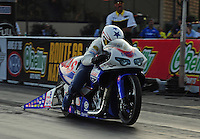 Jun. 30, 2012; Joliet, IL, USA: NHRA pro stock motorcycle rider Hector Arana Jr during qualifying for the Route 66 Nationals at Route 66 Raceway. Mandatory Credit: Mark J. Rebilas-