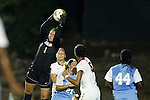 22 August 2014: North Carolina's Bryane Heaberlin (1) catches the ball. The University of North Carolina Tar Heels hosted the Stanford University Cardinal at Fetzer Field in Chapel Hill, NC in a 2014 NCAA Division I Women's Soccer match. Stanford won the game 1-0 in sudden death overtime.