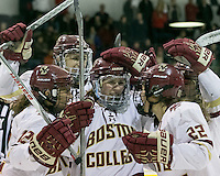 North Andover, Massachusetts - March 6, 2016: NCAA Division I, Women's Hockey East final. Boston College (white/maroon) defeated Boston University (red), 5-0, at Lawler Arena at Merrimack College. Boston College has a perfect Hockey East season - regular season, Bean Pot winner, and Women's Hockey East winner. Goal celebration (Haley Skarupa, assists Alex Carpenter,Makenna Newkirk).
