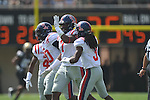 Ole Miss' Wayne Dorsey (7) celebrates his forced fumble in Nashville, Tenn. on Saturday, September 17, 2011. Vanderbilt won 30-7..