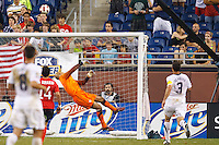 7 June 2011: USA Men's National Team goalkeeper Tim Howard (1) makes a save during the CONCACAF soccer match between USA and Canada at Ford Field Detroit, Michigan. USA won 2-0.