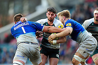 Owen Williams of Leicester Tigers takes on the Saracens defence. Aviva Premiership match, between Leicester Tigers and Saracens on March 20, 2016 at Welford Road in Leicester, England. Photo by: Patrick Khachfe / JMP