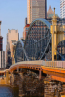 Smithfield Street bridge, looking into city, Pittsburgh, PA. <br /> <br /> Graphic photo illustration series - vertical orientation. Images in the graphic series are printed on a matte finish textured or smooth fine art paper that enhances and promotes the &quot;other than photograph&quot; look.