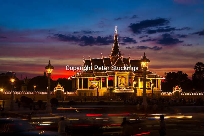 The front gate of the Royal Palace at sunset, Phnom Penh
