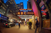 The entrance to the NBC studios, Rainbow Room and Top of the Rock at 30 Rockefeller Center in New York are seen on Tuesday, April 28, 2015. (© Richard B. Levine)