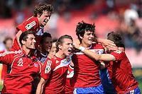 FUSSBALL   DFB POKAL   SAISON 2011/2012  1. Hauptrunde SpVgg Unterhaching - SC Freiburg             31.07.2011 Jubel Korbinian Mueller, Patrick Ziegler , Mijo Tunjic, Jonas Hummels  (v. li., Unterhaching)