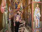 Rakovica monastery, golden icons and iconographer inside<br /> <br /> Iconographer Rade Sarić