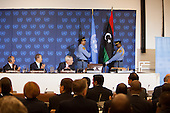 The new Libyan flag placed at the United Nations in New York for the first time prior to a meeting of the Libya Contact Group on Tuesday, September 20, 2011.  From left to right: Chairman Mustafa Abdel Jalil of the Libyan Transitional National Council (TNC) , UN Secretary-General Ban Ki-Moon, and the UN Under Secretary-General for the Depatment of Political Affairs (DPA) B. Lynn Pascoeat.Credit: Allan Tannenbaum / Pool via CNP